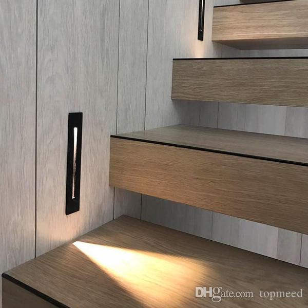 2019 3W راحة بقيادة درج ضوء AC85-265V داخلي ركن جدار أضواء الخطوة الديكور مصباح مدخل الدرج مصابيح مع كري رقاقة