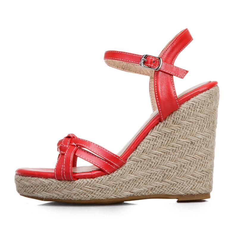 Sandales pour les femmes Chaussures d'été Mode Tricoté Talons Gladiator Sandales Chaussures Casual White Party Femme Grande Taille 45 47 T200630