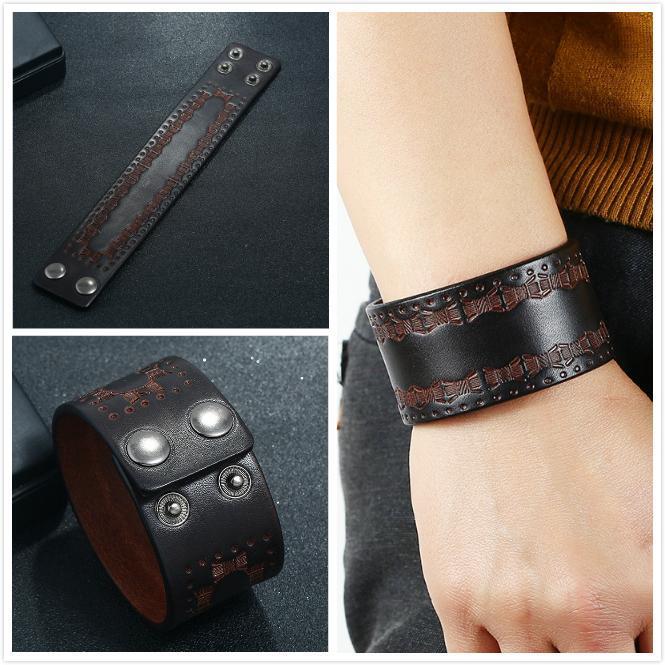 Nuovo Mens neri di cuoio reali dei braccialetti del polsino Bqngle per progettista degli uomini Simple disegno inciso da regalo in pelle gioielli braccialetto per ragazzi all'ingrosso