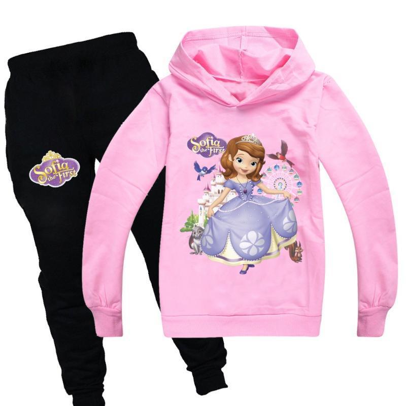 Chica patrón de dibujos animados traje de manga larga con capucha camisetas de la ropa de los pantalones elegantes de los niños de las niñas ropa deportiva camisa chica