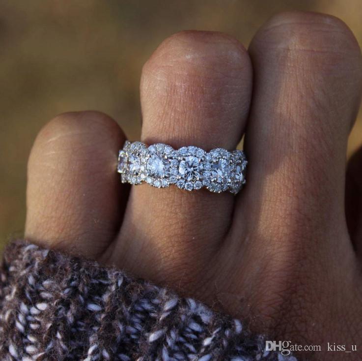 Bague de fiançailles de mariage en argent couleur bague classique zircone cubique pour femme filles strass cristaux anneaux cadeau
