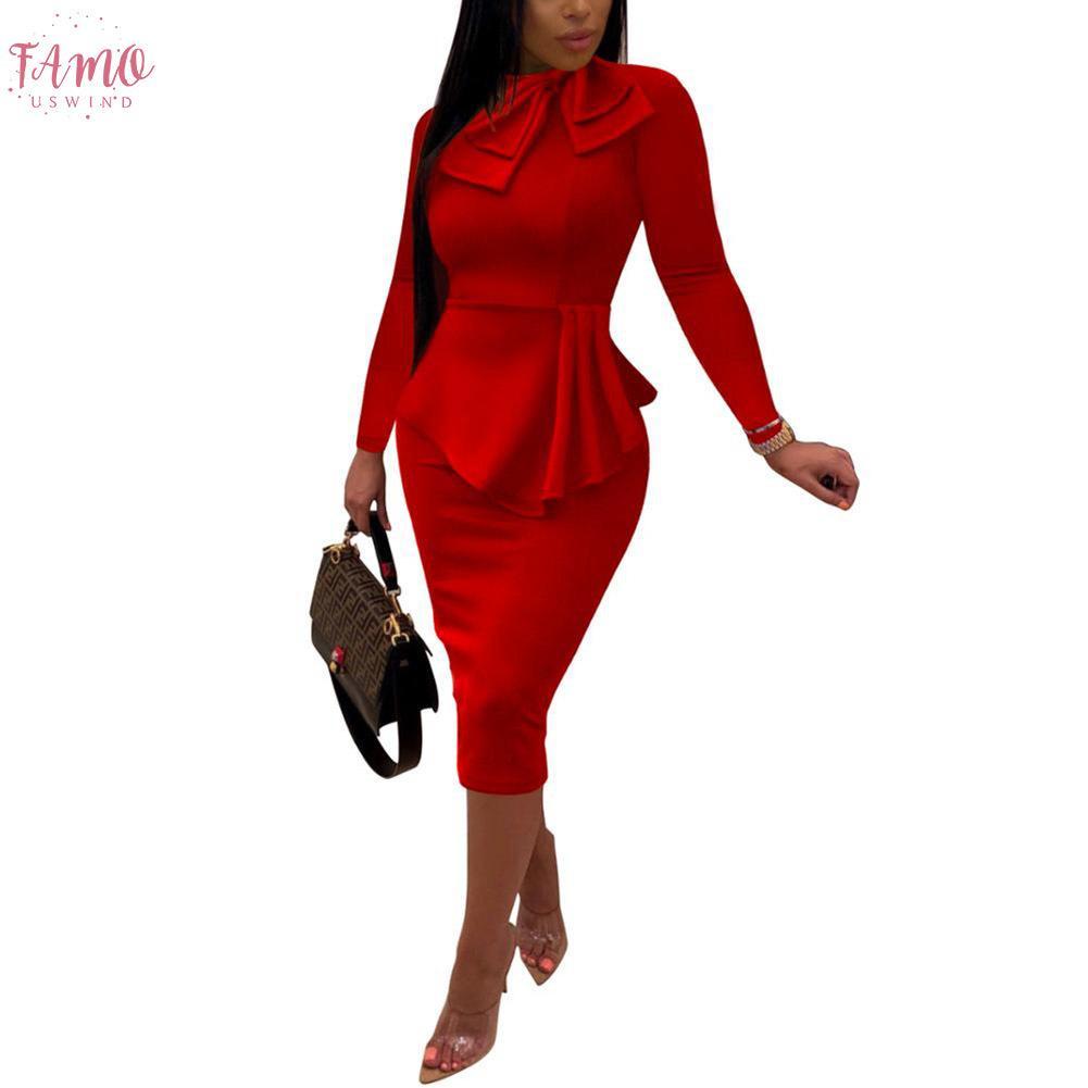 2020 Осенняя Мода Женщины Офисные Платья Баски Карандаш Платье Рукав Формальный Деловой Наряд Одежда Для Работы Платья Формальные Наряды