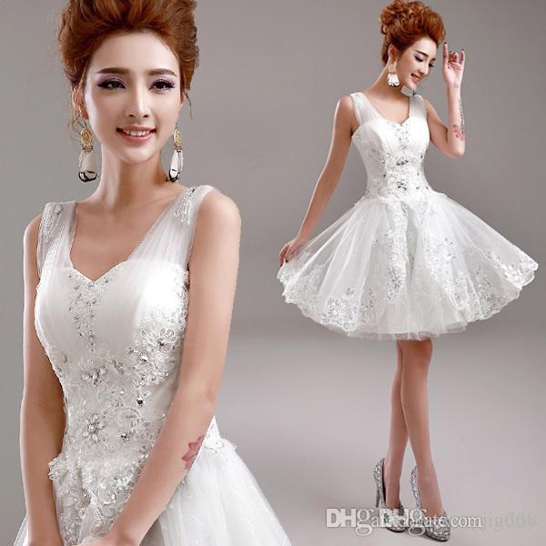 NEW HOT Cheap Dress High Quality Lovely Scoop Neckline Half Sleeves Lace Decoration Mid-Calf Wedding dresses