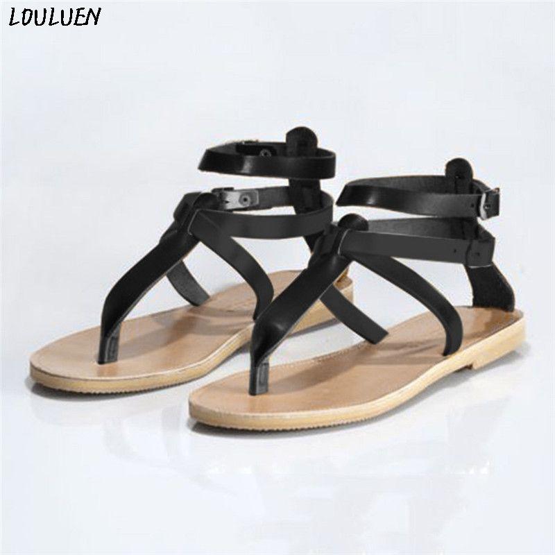 LOULUEN 2020 yaz Bohemian sandalet Zapatos Mujer kadınlar Için Flip flop Flats Burnu açık kayma-on toka kayış Plaj ayakkabısı Roma