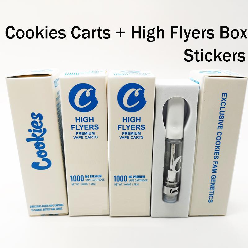 Cookies Тележки 0.8 мл Высокие флаеры Упаковка 1.0 мл. Vape Cartridge Vaporizers Керамические катушки Стеклянные баки Пустые одноразовые распылители Vape Peen