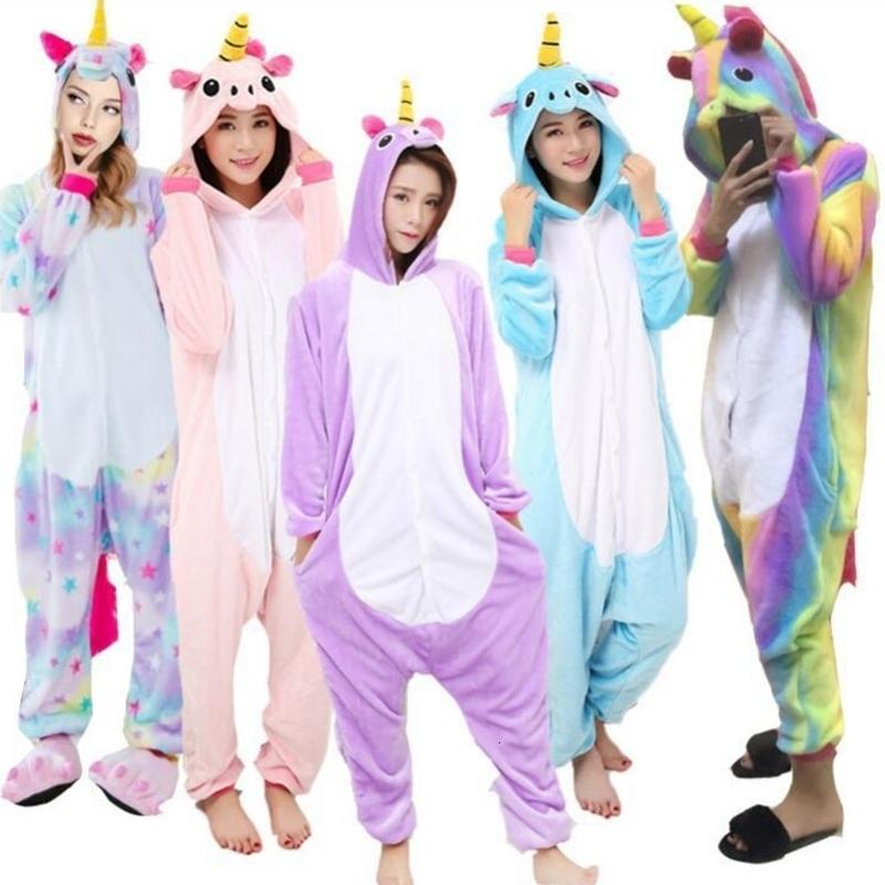 Unisex Adult Winter Unicorn Pajamas 2018 Animal Pajama Sets Sexy Hooded Homewear Flannel Sleepwear Female Cute Cartoon Pyjama Y1892710