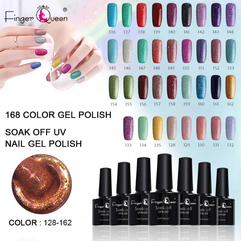 Fingerqueen 7.5ml Gel UV Nail LED vernis à ongles Varnish168 Couleurs Gel Laque Long Lasting Soak Off Art DIY Designs