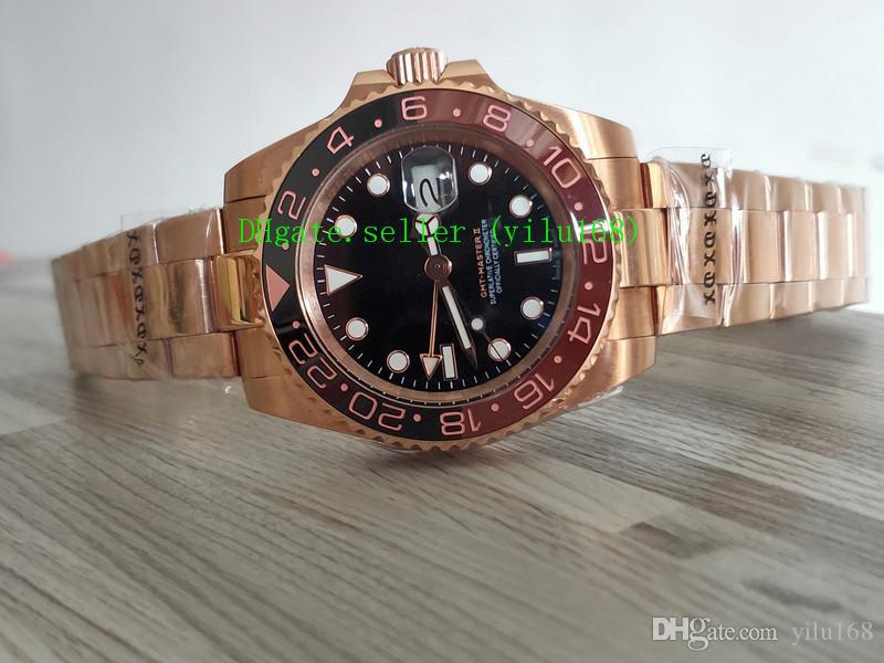 Роскошные часы II GMT 18K розовое золото из нержавеющей черного циферблата / керамический безель 40 мм автоматические модные мужские часы
