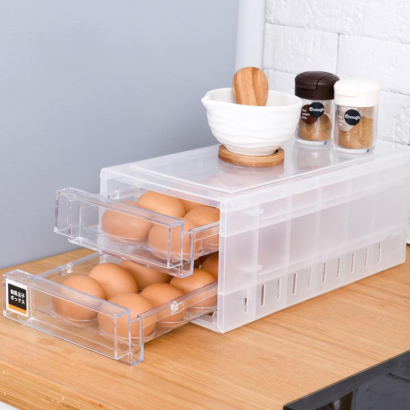 Double Layers Egg Trays Drawer Type Egg Holder Organizers for Refrigerator Kitchen for 24 Eggs OCT998