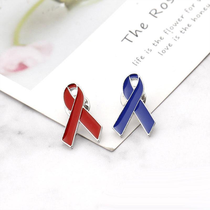 A consciência do HIV vermelho fita Azul lapela distintivo Pino Tampas Chapéus Sacos Mochilas Broches Frete Grátis