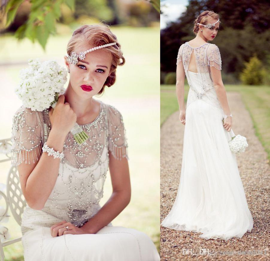 Vintage Great Gatsby Sparkly Crystal Beach Wedding Dresses 2021 Cap Sleeve Country Open Back Sheath Bridal Gowns