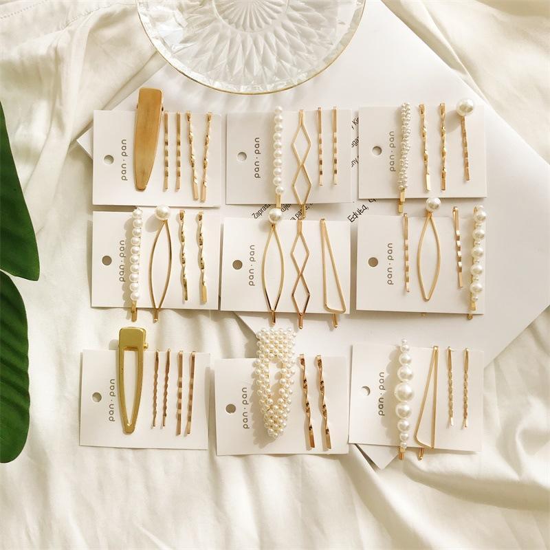 Minimalist Geometrik Düzensiz Saç Klipler Şık İnci Tokalar Barrette Altın Metal hairgrip Moda Lady Parti Saç Aksesuarları