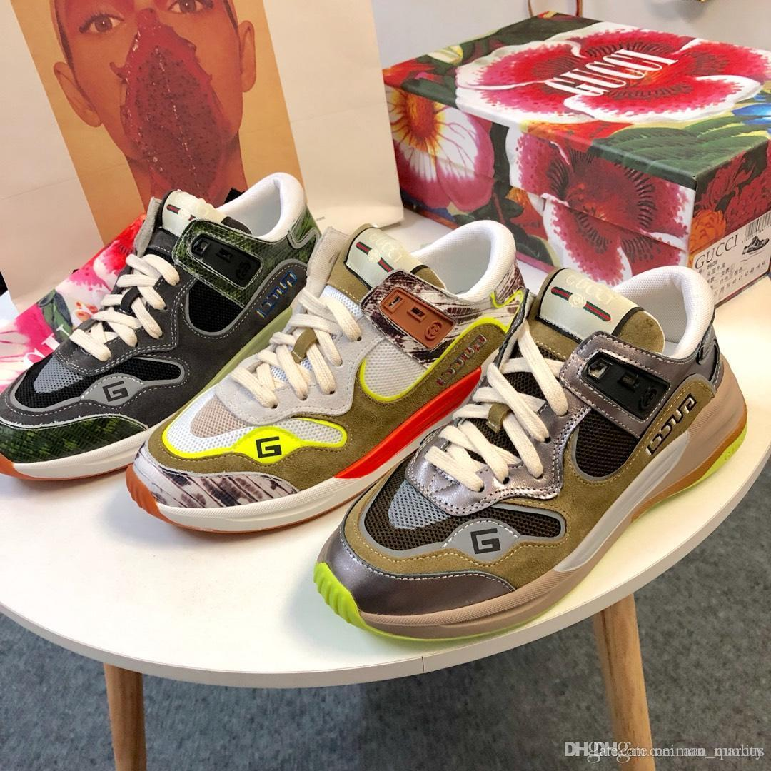 De lujo para mujer Ultrapace zapatilla de deporte de las zapatillas de deporte reflectantes de tela con bordado G cuero Entrenadores Tenis Calzado clásico diseñador de las mujeres Zapatos