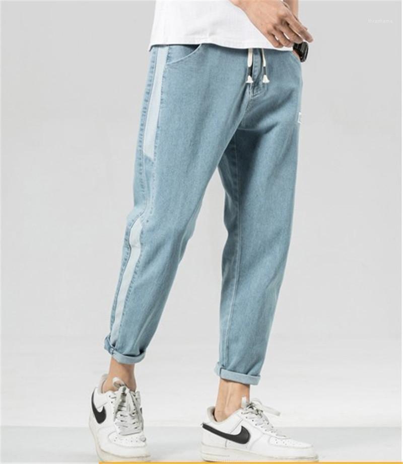 Mens Regular Straight color puro Mediados Capris pantalones para hombre Moda bolsillo de los vaqueros con cremallera pantalones del lápiz