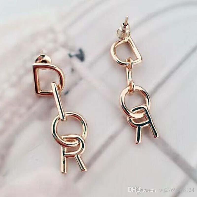 Mode Champagne Or Lettres Dangle Boucles d'oreilles en argent 925 aiguille boucle d'oreille femmes Girl Party Bijoux Accessoires Cadeau