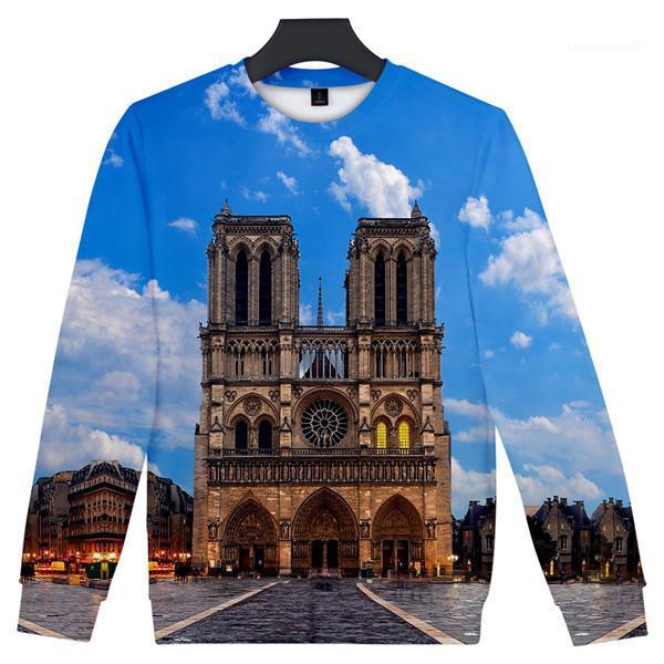 DE Paris Erkek Kapüşonlular 3D Baskılı O-Boyun Renkli Tişörtü Kadınlar Moda RIP Giyim Sıcak Notre Dame