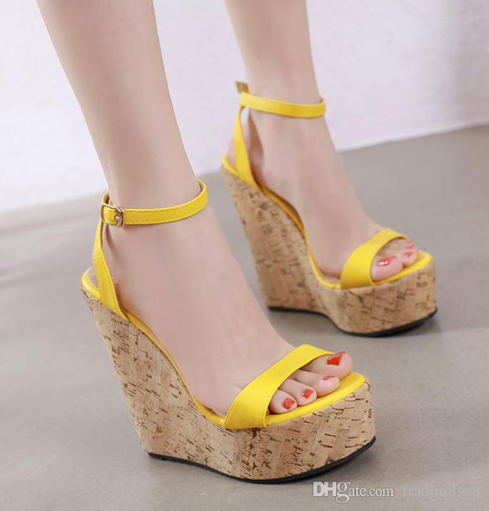Womens Shoes Wedge Sandals Mid Heel Slide New West Yellow