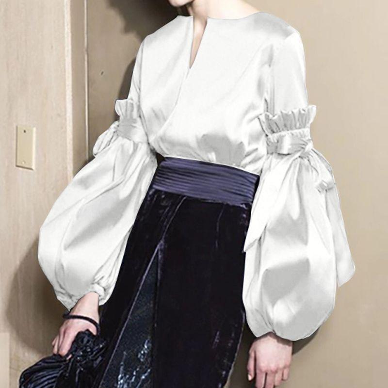 Women's Blouses & Shirts Celmia V Neck 2021 Elegant Silk Tops Fashion Women Long Lantern Sleeves Satin Blouse Vintage Leisure Bow Casual Blu
