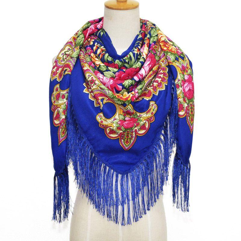 Big Size 135x135cm Lady Scarf Scarves Fringe Long Pashmina Cotton Shawls Autumn Winter Warm Mujer Bufanda Print Flower Muffler