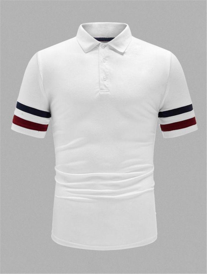 Striped Homens Verão Polos Camisas Casual Turn Down Collar Sólidos Homens Cor Tees Hombres Polo Mans Clothing