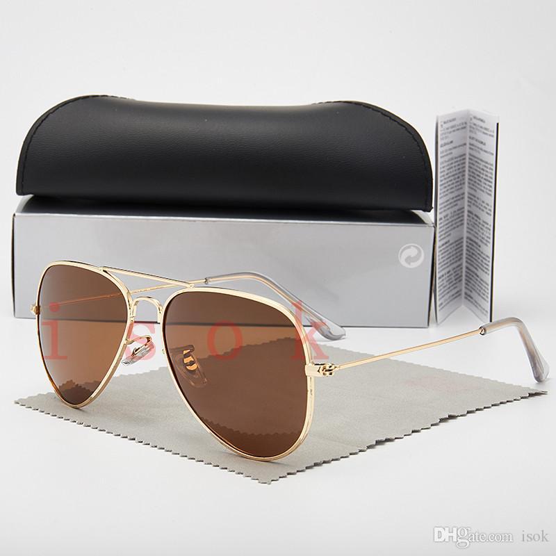 10PCS, 좋은 품질 남성 여성 파일럿 안경 디자이너 브랜드 태양 안경 사각 프레임 UV400 렌즈 박스 및 케이스 클래식 선글라스