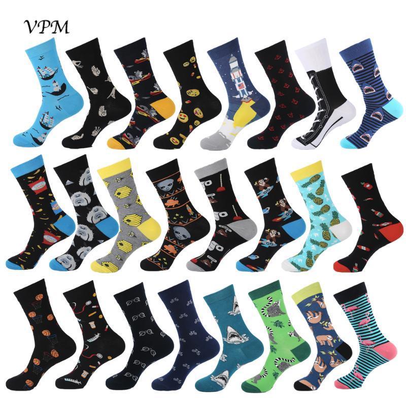 VPM 2019 New Hiphop Cotton Men's Socks Harajuku Happy Funny Poop Pills Alien Comb Dress Socks for Male Wedding Christmas Gift