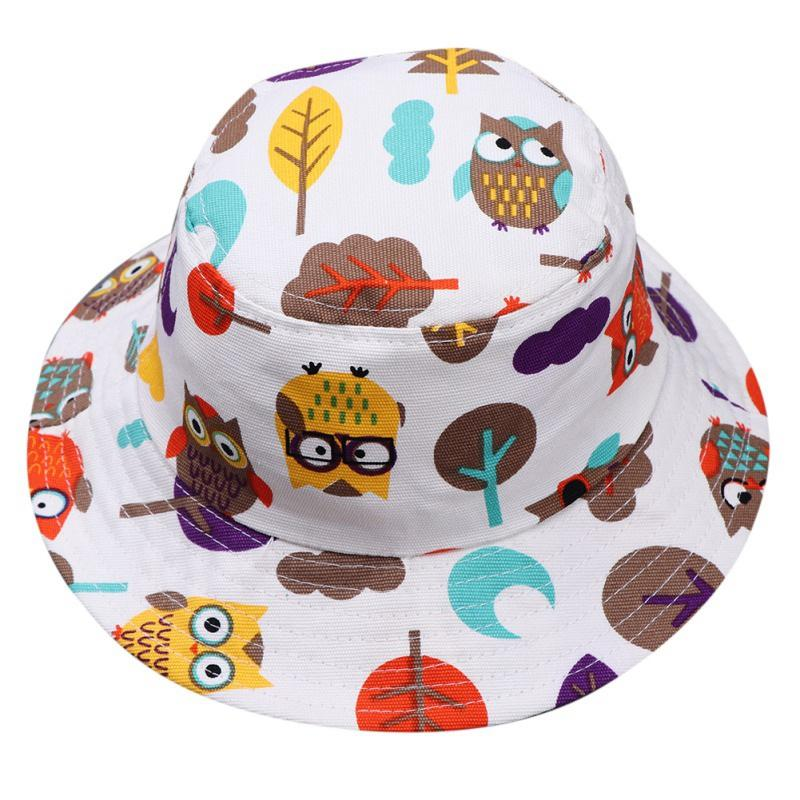 Summer Hats Baby Boys Girls Toddler Cartoon Print Bucket Cute Cotton Autumn Caps Reversible Sun Headwear Fisherman Cap
