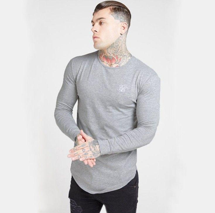 Sik İpek Moda Erkekler baskı Elastik Tişörtlü Yüksek Kalite Elastik Uzun kollu Erkekler İnce Günlük Spor Pamuklu atletler