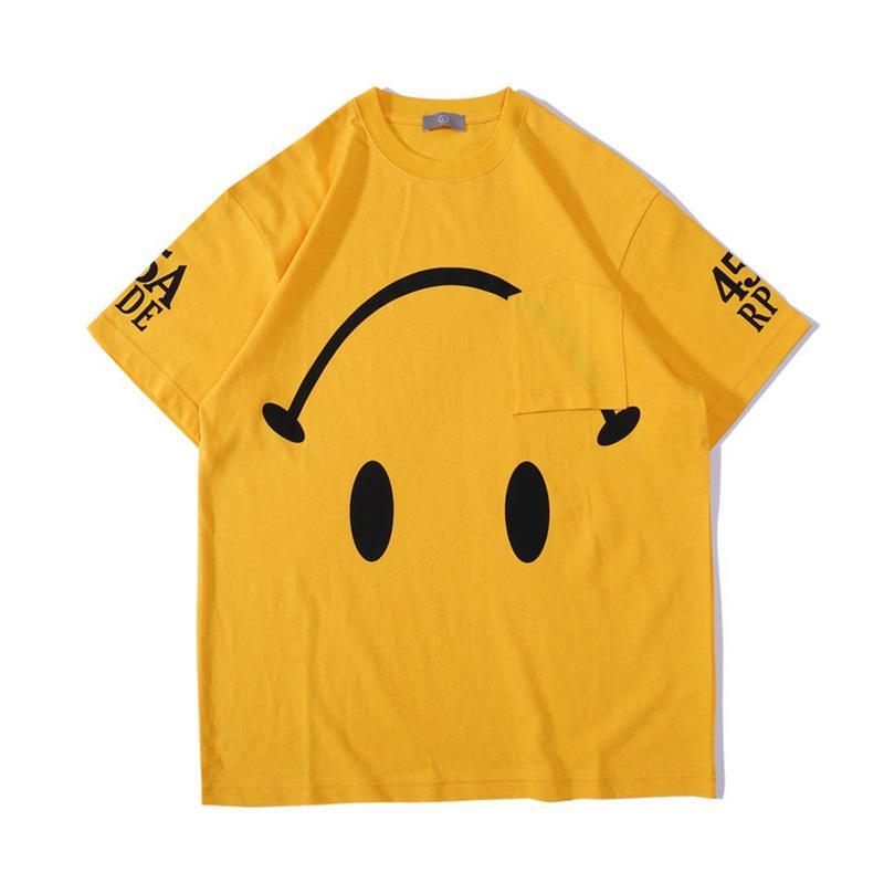 Do The Old Kadınlar Streetwear 20ss Lüks için Smiley Tee Gevşek Yıkama yılında Almanya Sokak Tide Drew Ev Erkekler Tasarımcı T Gömlek Trend Ters