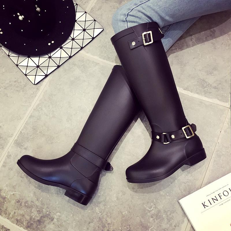 Hot Sale - модные резиновые ботинки женские резиновые сапоги красная молния за высокими пряжками резиновые сапоги галоши сапоги для верховой езды