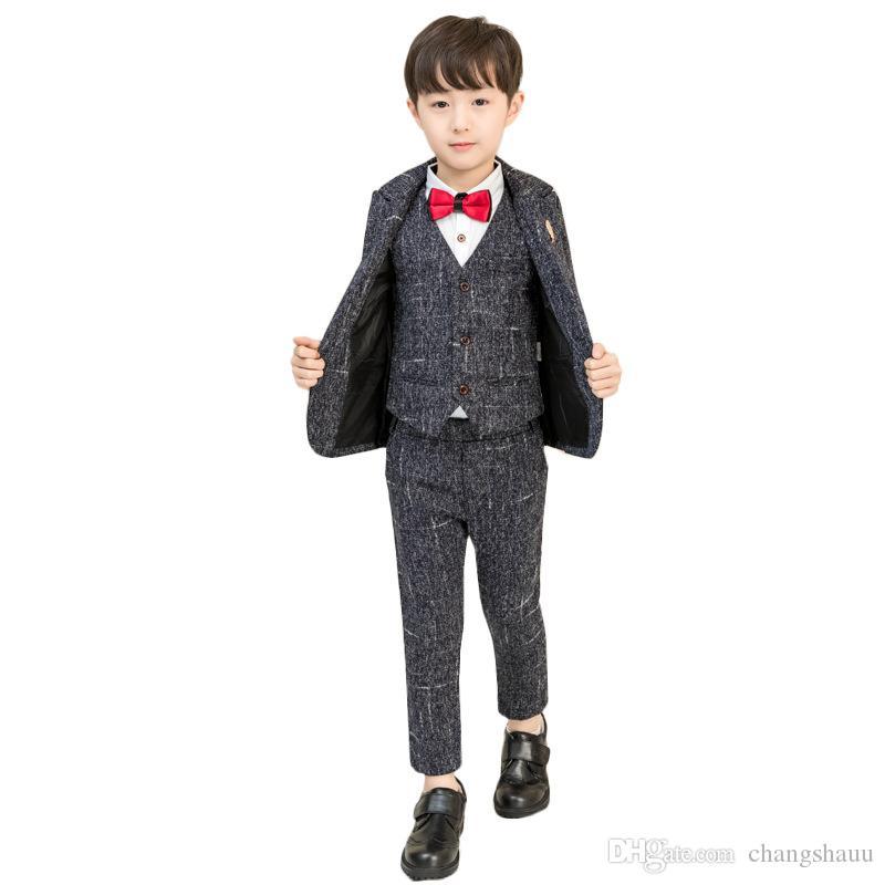2019 Flower Boys Formal Evening Blazer Suit Kids Jacket Vest Pants 3Pcs Clothing Set Children Wedding Birthday Tuxedo Costume