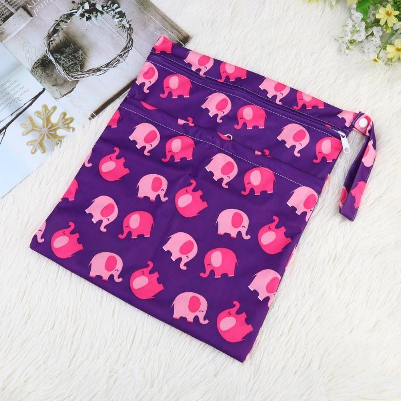 Baby Zipper Pouch Diaper Bag Stoccaggio Diaper Pannolino per bambini Banconota impermeabile Borsa riutilizzabile pannolini 2pcs Stampa Cupbw