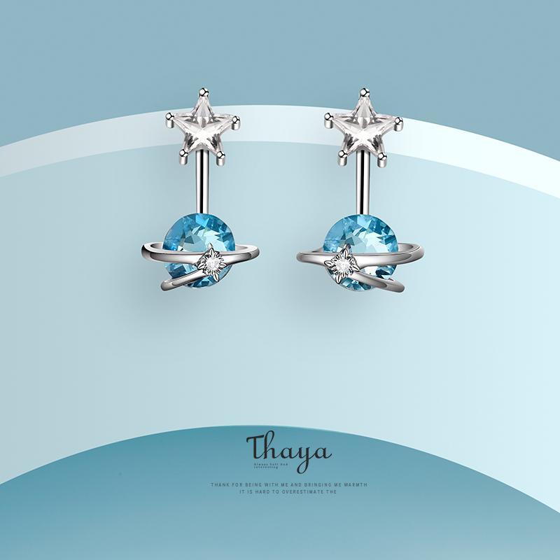 Thaya Fantasy Jewelry Design Earring 925 Silver Bohemia Blue Zircon Earring for Women Special Design Fashion Jewelry CX200611