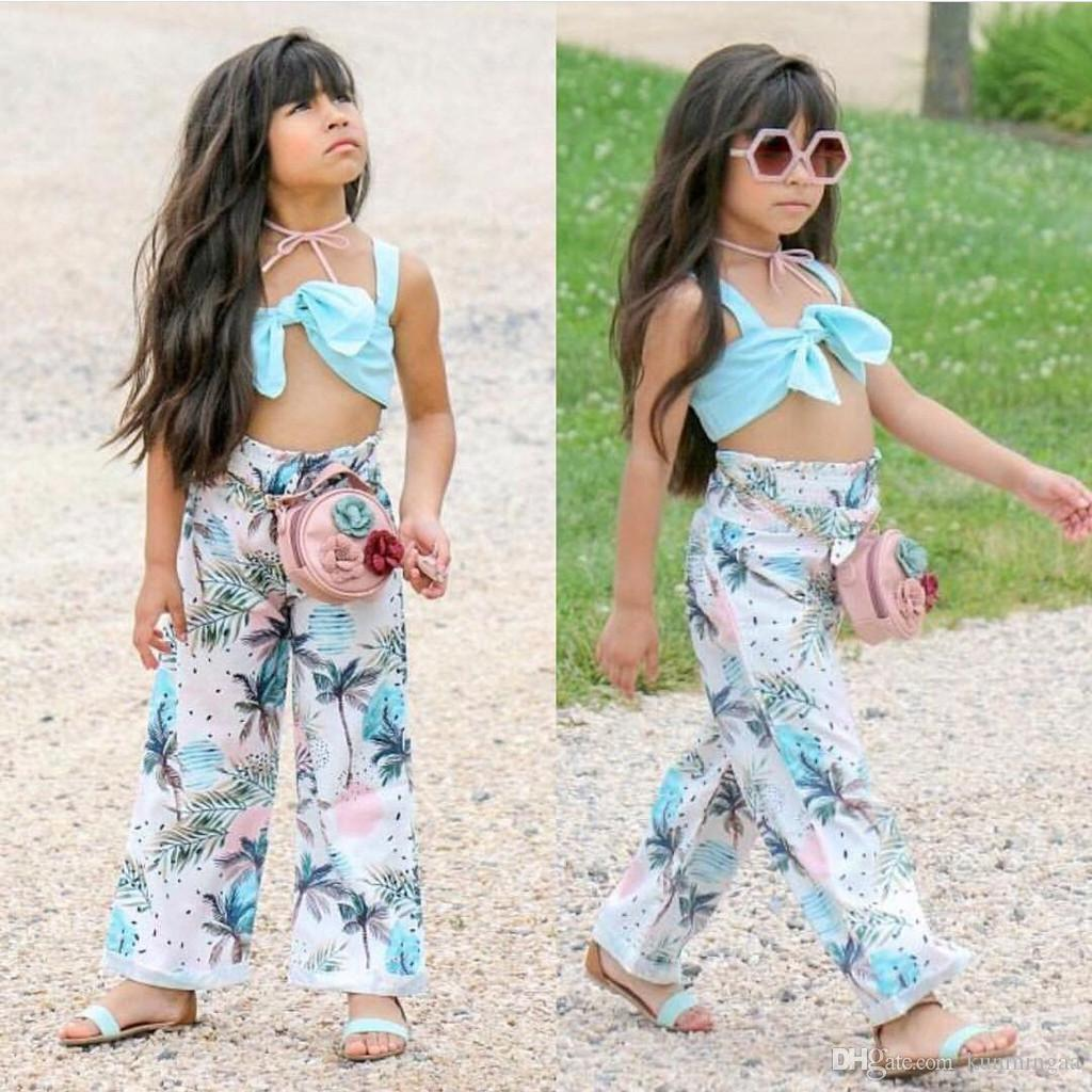 Toddler Kids Girls Solid Strap Tops+Floral Print Bow Pants Outfits Clothes Set