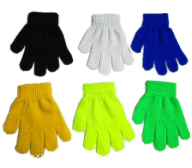 Child Gloves /& Mittens Girl Boy Kid Stretchy Knitted Winter Warm Candy Color