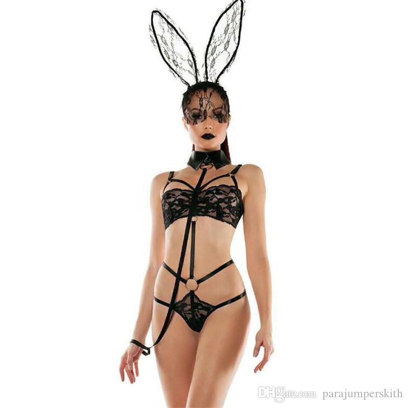 الاتحاد الأوروبي مصمم المرأة مثير مجموعة الأرنب فتاة الدانتيل منظور ثلاثة نقطة نوع الملابس الداخلية النسائية مثير داخلية