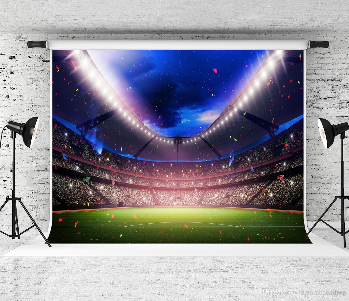 Sonho 7x5ft Evening Stadium Iluminação Fotografia Cenário Céu Azul Colorido Fundo De Papel para Esportes Tema Decoração Do Partido Foto Shoot Prop