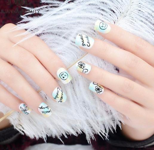 24pcs/set Children Acrylic Full Cover Tip False Art With Glue Color Printing Smile Face Fake Nail Tips Fingernails New