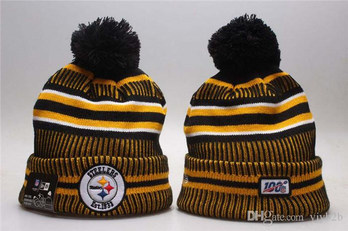 2020 SICAK Marka Moda Steelers Sport Tüm Takım Hip Hop Beanie Şapkalar 100 Erkek Bir Boyut Yumuşak Isınma Kafatası Caps Casual takkelerden Örme