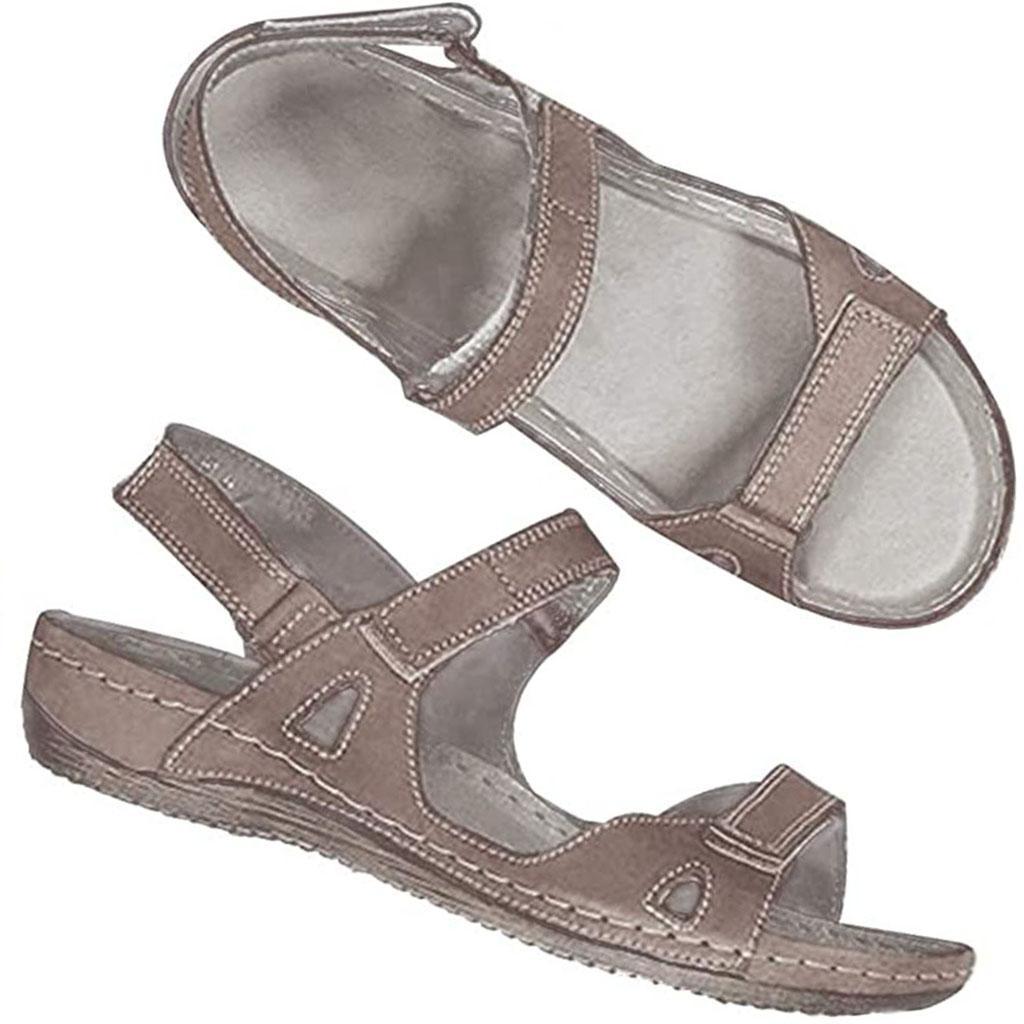 01 Kadın Sandalet Ayakkabı 2020 Yaz Burun Kalın Düz Katı PU Casual Kız Plaj Kadın Floplar Bayanlar ayakkabı Bayan Siyah Kahverengi 36-43