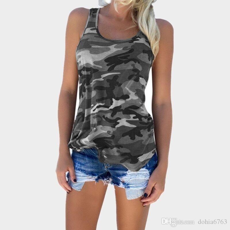 Bahar ve yaz patlamalar Yaz yeni kamuflaj moda vahşi kolsuz yelek T-shirt kadın