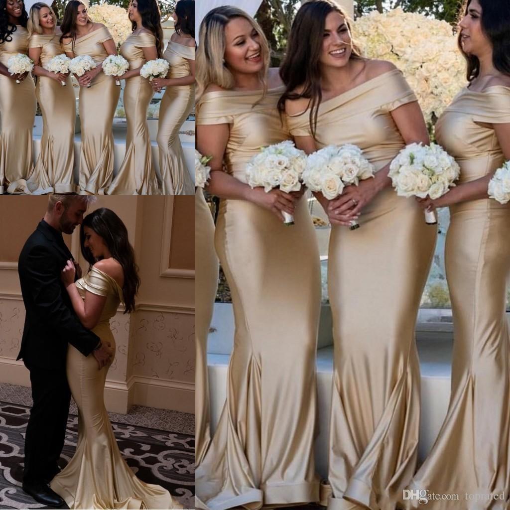 2019 árabe luz champanhe sereia vestidos de dama de honra sem encosto maid of honor vestidos de casamento vestidos de hóspedes