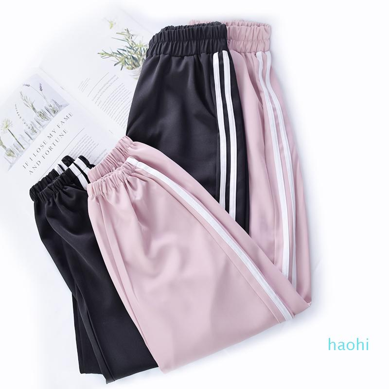 Fashion-NEW Casual Running Exercise pants Dance Female Side lines Sweatpants sports Women Trousers Fitness Loose Harem Pants Cool