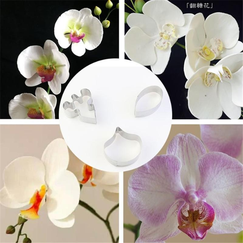 3pcs/set Stainless Steel Cookie Cutter 3D Butterfly Orchid Biscuit Fondant Cake Decorating Tools Dessert Baking Tools