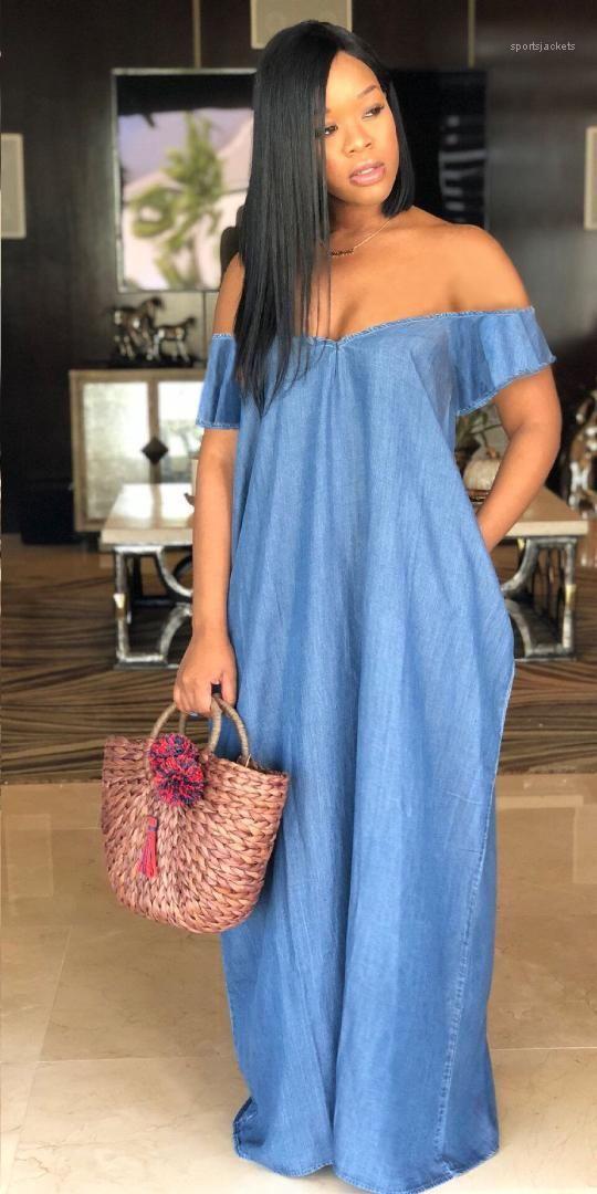 Жан платья Лето Slash шеи дизайнер сексуальные платья женская мода свободные партии одежда Женская глубокий V-образным вырезом