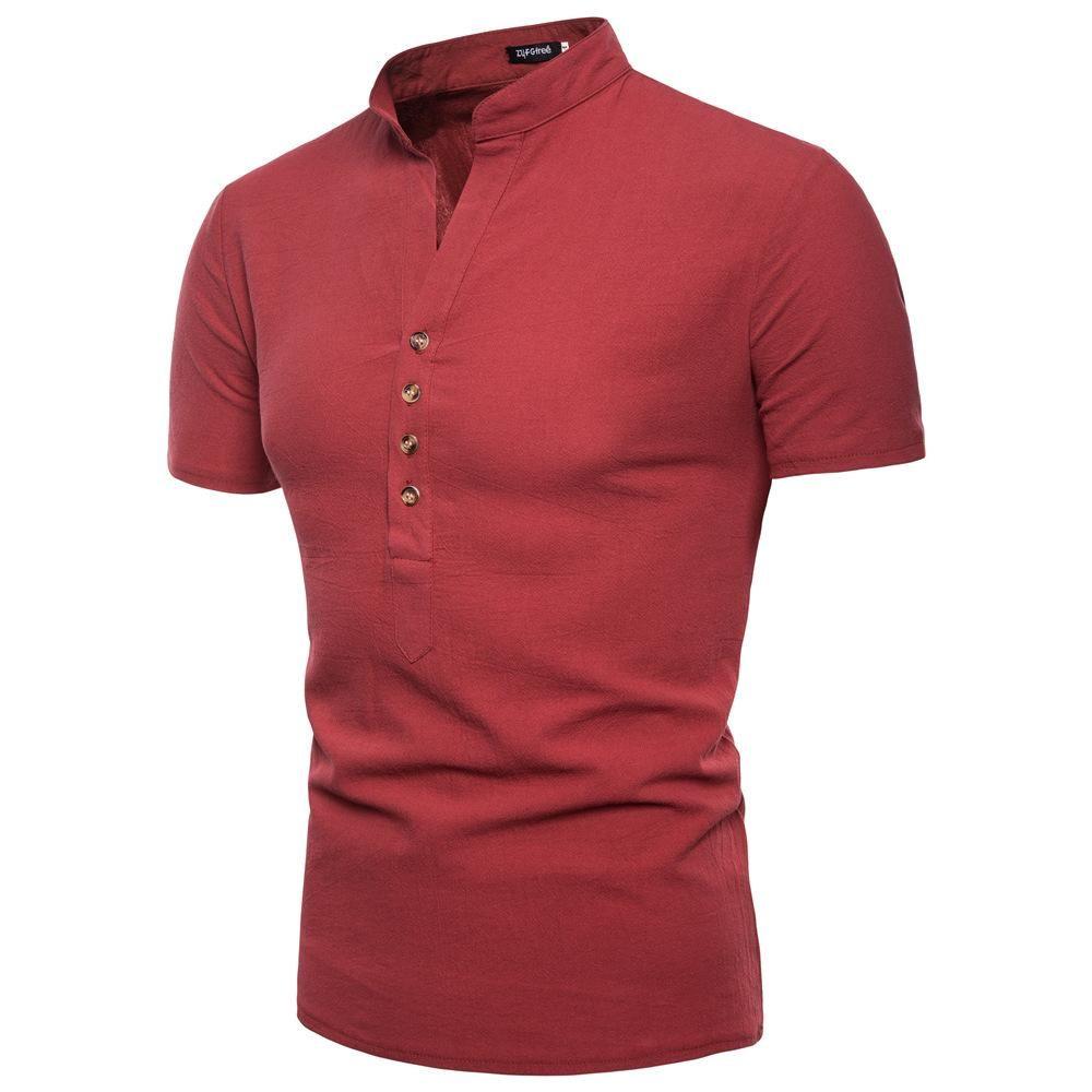 camisa de manga corta color puro puente informal camisa mayor del verano la moda de los nuevos hombres