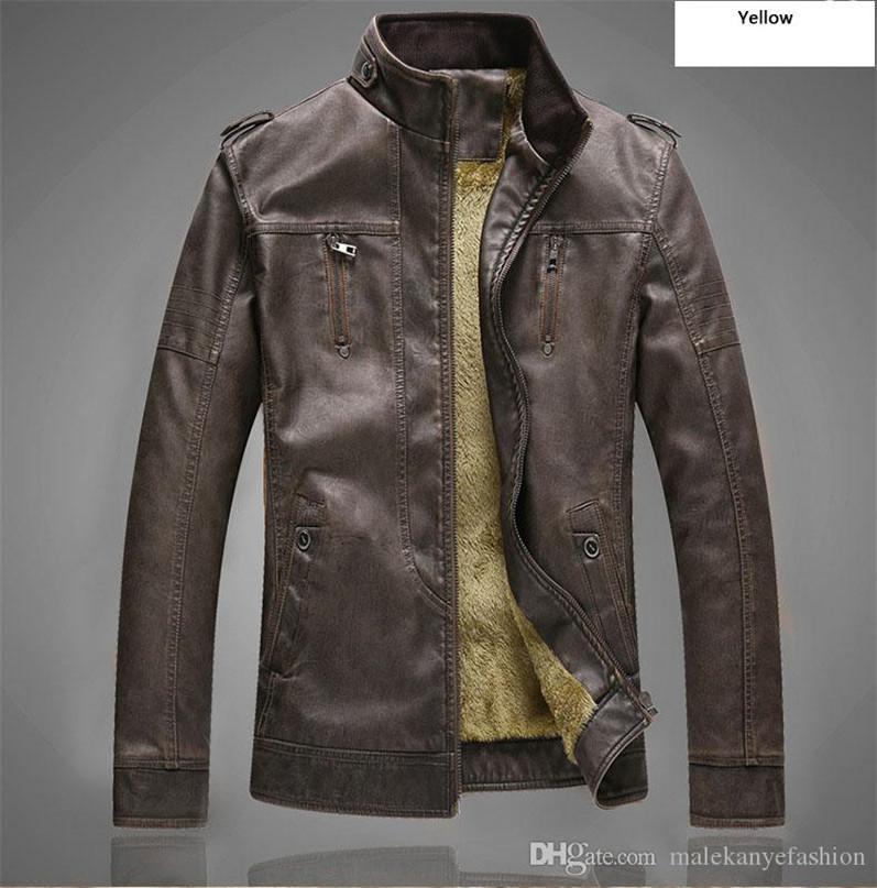 rétro en cuir pour hommes PU lavé, plus mode velours cuir col stand vêtements pour hommes en cuir vestes de moto veste