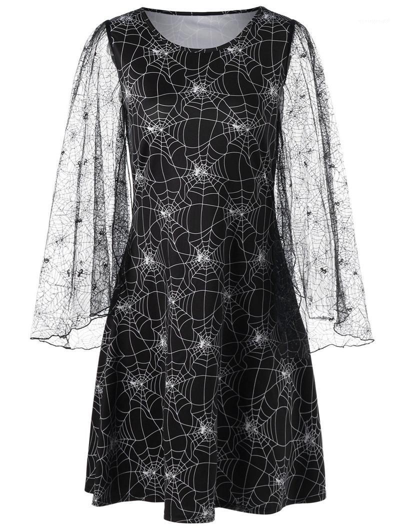 Günlük Elbiseler Moda Bayanlar Kısa Yaz Giyim Tasarımcı Örümcek Web Elbise Kadın Flare Kol Halloween yazdır