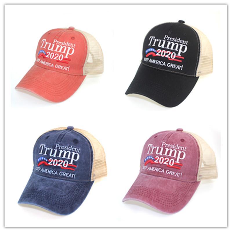 Trump mantener a Estados Unidos grandes sombreros ajustable de la manera bordado Carta Pesident Donald Trump 2020 Hombres Mujeres malla gorras de béisbol Ocio Snapback