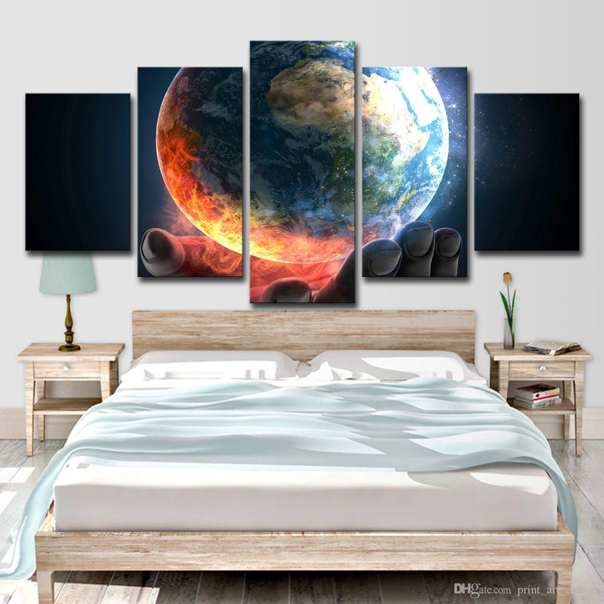 Canvas Wall Art Pictures For Living Room Home Decor 5 Pieces Earth Planet Scenery Paintings HD Prints Abstract Poster